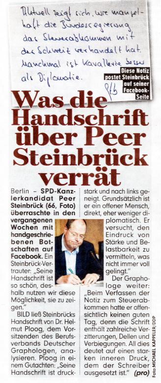 Graphologie Peer Steinbrück